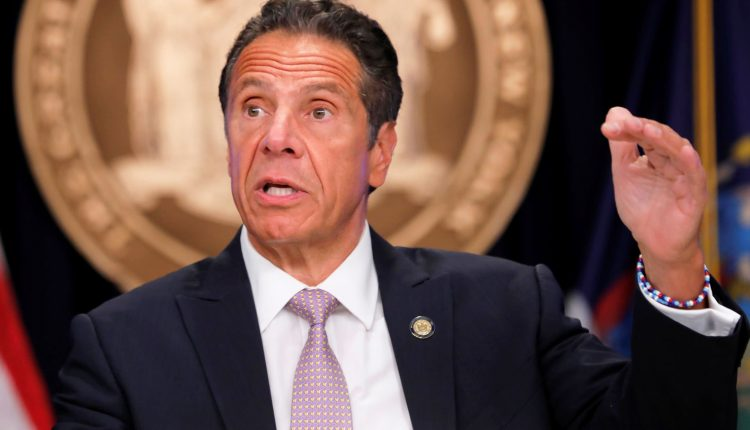 New York Gov. Andrew Cuomo holds a press briefing on